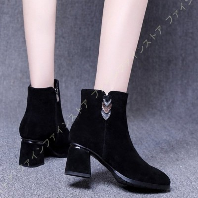 ショートブーツ 黒 レディース ブーツ ブーティー 大きいサイズ チャンキーヒール ワイズ 3E 歩きやすい 靴 ハイヒール アンクルブーツ 幅広 甲高 疲れない