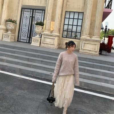 スカート ガーゼ メッシュ ミモレ丈 ミディアム Aライン ふんわり 透け感 mme4563