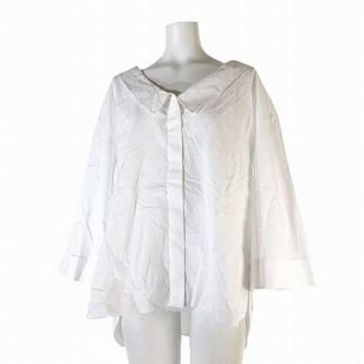 【中古】未使用品 ムルーア MURUA タグ付き シャツ バックリング 長袖 オーバーサイズ 無地 白 F トップス レディース