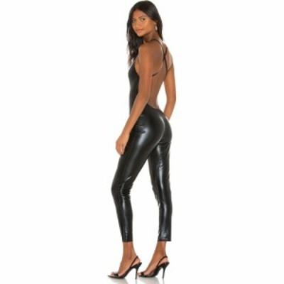 ノーマ カマリ Norma Kamali レディース オールインワン キャットスーツ ワンピース・ドレス Low Back Fara Slip Catsuit Black Foil