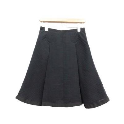 【中古】サカイラック sacai luck スカート ひざ丈 ボックスプリーツ フレア 1 黒 ブラック /TU レディース 【ベクトル 古着】