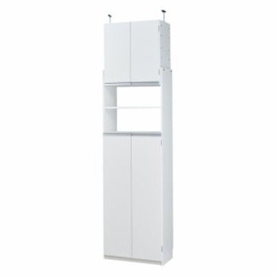 家具 収納 キッチン収納 食器棚 キッチンストッカー 薄型で省スペースキッチン突っ張り収納庫 扉タイプ 幅60cm・奥行31cm 550605