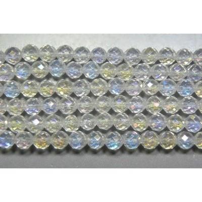 天然石カット6mm 水晶レインボーAB(オーロラ) 半連 約18-20cm half-cut0611
