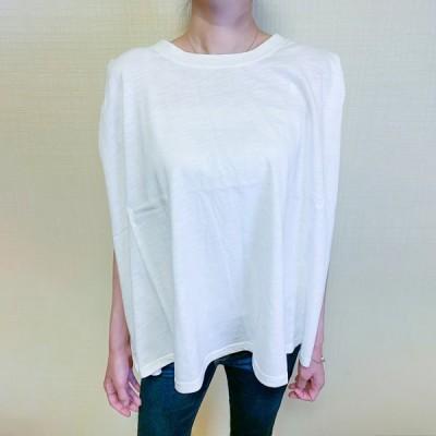 レディース tシャツ Tシャツトップス コットン スラブ ノースリーブ カットソー 春 夏 半袖 きれいめ きれい