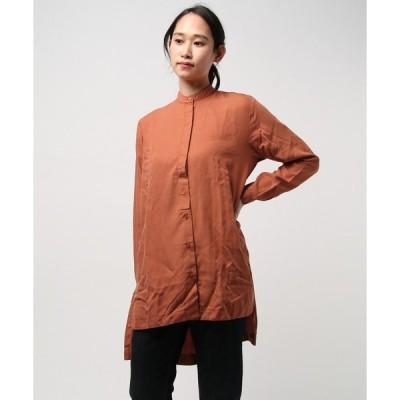 シャツ ブラウス tunic スタンドカラーシャツ