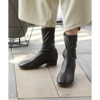 ブーツ スクエアトゥローヒールストレッチミドルブーツ