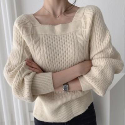 レディース ニットトップス ニット ケーブル編み ニット 長袖 セーター ゆったり カジュアル シンプル 秋冬 ベーシック 大人可愛い こな
