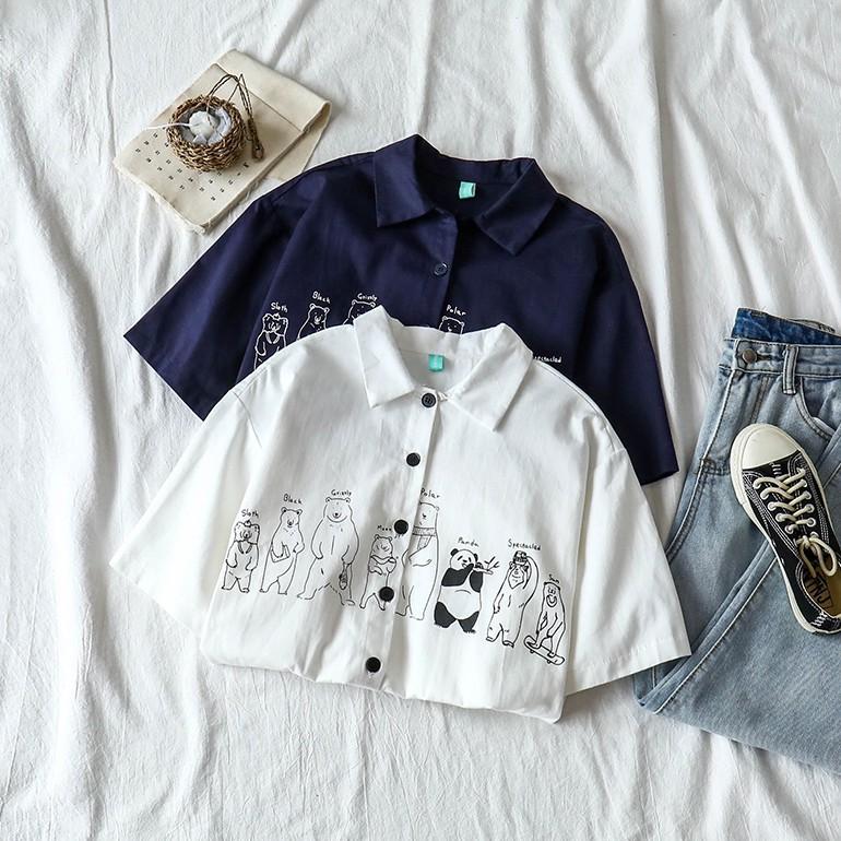[批發價]  韓版短袖襯衫 印花 學院風 卡通 排扣 翻領口 寬鬆 白色 韓版翻領卡通小熊印花洋氣短袖襯衫
