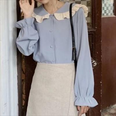 人気 売れ筋 春物 長袖シャツ ブラウス 袖フリル 襟フリル フェミニン ガーリー きれいめ フロントボタン  kk0729
