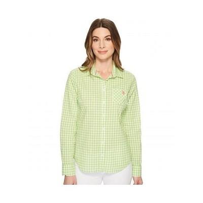 U.S. POLO ASSN. USポロ レディース 女性用 ファッション ボタンシャツ Woven Plaid Blouse - Apple Martini