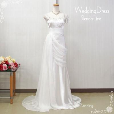訳あり ウェディングドレス ウエディングドレス 白 結婚式 二次会 パーティードレス スレンダーライン wd32067