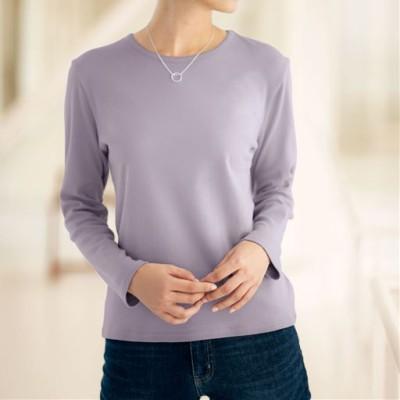 あったかシンプルTシャツ(綿100%・蓄熱保温・吸湿発熱・洗濯機OK)/ミスティライラック/M