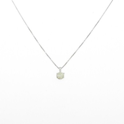 K10WG ソリティア ダイヤモンドネックレス