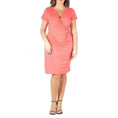 24セブンコンフォート ワンピース トップス レディース Women's Plus Size Short Sleeve V-neck Faux Wrap Dress Pumpkin