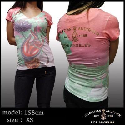 【50%OFF】 クリスチャンオードジェー レディース Tシャツ Christian Audigier SUB ハイブランド セレブ ファッション エドハーディー Ed Hardy スタイル セール