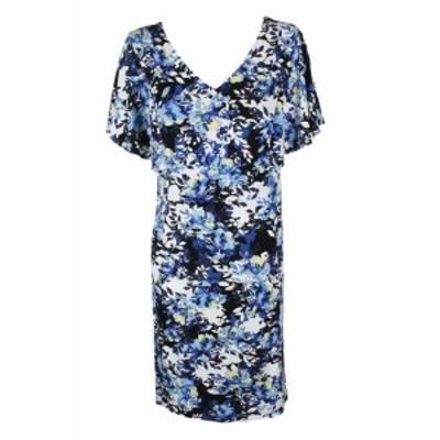 ファッション ドレス Chiffon plus size blue multi printed flutter-sleeve trapeze dress 18w