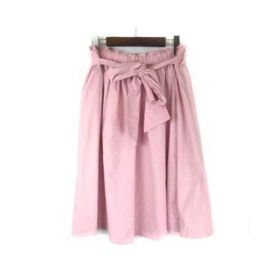【中古】フランシュリッペ franche lippee 1660660 ギャザーたっぷりスカート ひざ丈 ウエストマーク 大きいサイズ ピンク FL5 ■VG レディース