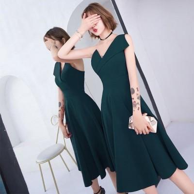 ワンピースレディースロングドレスノースリーブvネックaライン大きいサイズ無地セクシーカラードレス結婚式フォーマルパーティー30代