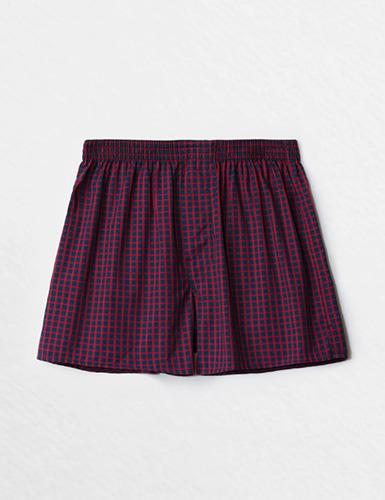 (男款)格紋控.平織舒適四角內褲(紅/藍格)