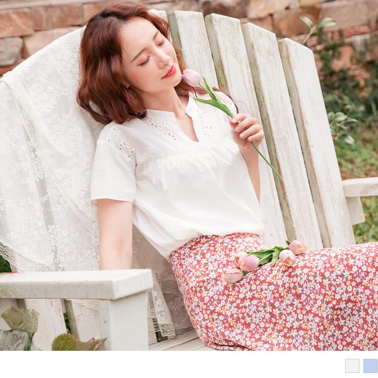 高含棉鏤空繡花拼接V型小立領上衣
