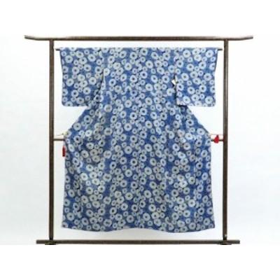 【中古】リサイクル小紋 / 正絹ブルー地菊柄袷小紋着物 / レディース(古着 中古 小紋 リサイクル品)