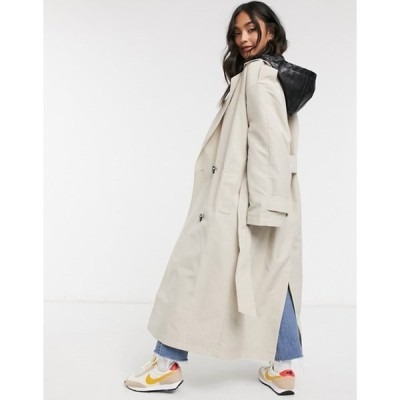 エイソス レディース コート アウター ASOS DESIGN trench coat with detachable leather look hood in stone