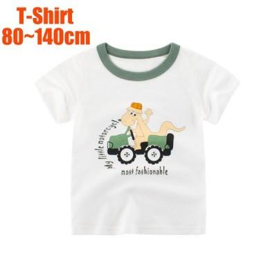 Tシャツ ラウンドネック 半袖 キッズ ベビー 男の子 女の子 プリント 恐竜 子ども服 夏服 かわいい 普段着 デイリー