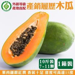 果農直配-產銷履歷外銷等級木瓜(6台斤±10%/約3-6顆)