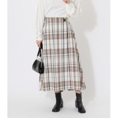 【70%OFF】 BIG CHECK WRAP SKIRT/ビッグチェックダブルラップスカート WOMENSレディース