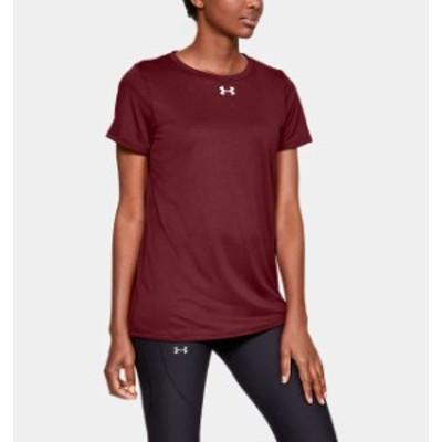 アンダーアーマー レディース Tシャツ Under Armour UA Locker T-Shirt 半袖 Cardinal/White