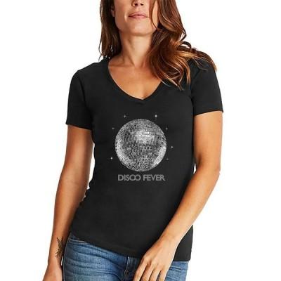 エルエーポップアート レディース シャツ トップス Women's Word Art Disco Ball V-Neck T-Shirt