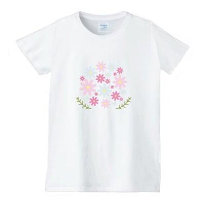 花 フラワー Tシャツ 白 レディース 女性用 jfw40