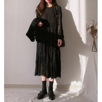 韓国 ファッション レディース ワンピース ロング ミモレ丈 ティアード ワッシャー シースルー 長袖 ゆったり 長袖 無地 大人可愛い 春