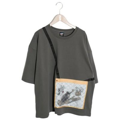 【スカラー】 虫かごアップリケTシャツ レディース チャコール グレー M ScoLar