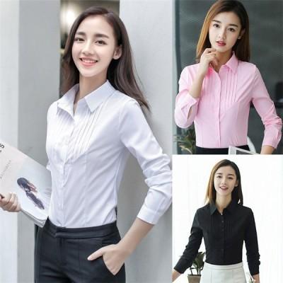 レディースシャツ  ブラウス  シャツ  ワイシャツ  白  長袖  通勤  OL  女の子  春夏 トップス フォーマル