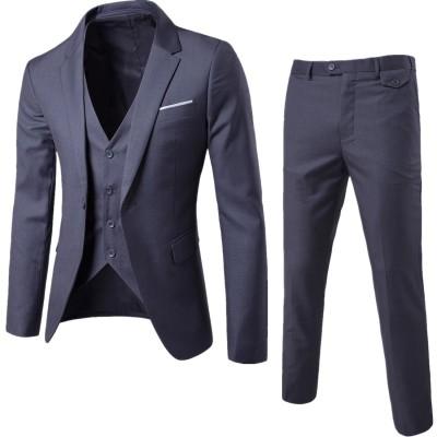 メンズスーツ スリーピース セットアップスーツ 一つボタン フォーマル スリム フィット 洗える S~6XL 四季汎用
