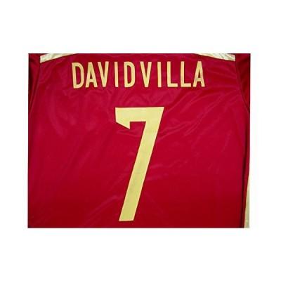 子供用 K014 スペインHOME DAVID VILLA*7 ダビド ビリャ 赤 16 ゲームシャツ パンツ付
