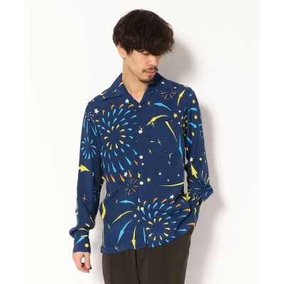 "(RAWLIFE/ロウライフ)Aloha Blossom/アロハ ブロッサム/""HANABI"" long sleeve/メンズ NAVY"