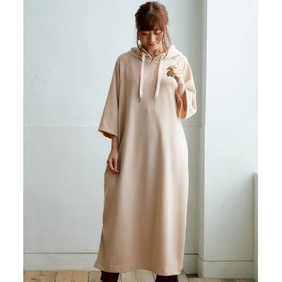 7分袖裏毛パーカーワンピース (ワンピース)Dress