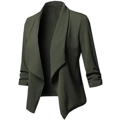 レディース カジュアルブレザー 無地 カーディガン 前開き 長袖 ジャケット プラスサイズ コート(s210204815)