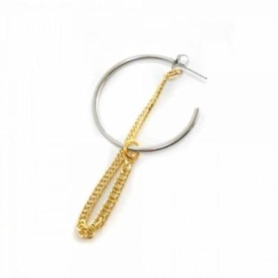 ワンフープ チェーン ピアス Julia earrings ジュリア 銀×金 ラージ 1個 片耳 大きめサイズ