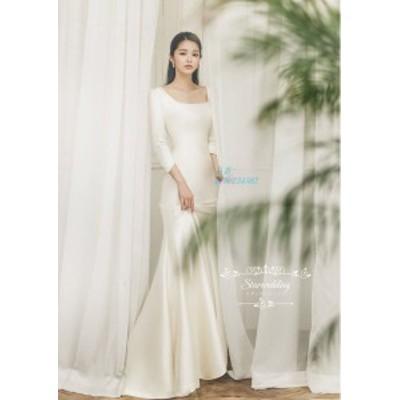ウエディングドレス マーメイドラインドレス 結婚式 二次会 袖あり 長袖 花嫁 シンプル 披露宴 ロング ブライダル 白 パーティードレス