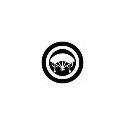 家紋シール 丸に房扇紋 直径4cm 丸型 白紋 4枚セット KS44M-0795W