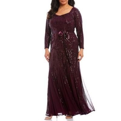 アールアンドエムリチャーズ レディース ワンピース トップス Plus Size Sequin Embroidered Mesh Sweetheart Long Sleeve Godet Inset Detail Gown Burgundy