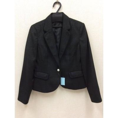 - 黒ツイード風ジャケット ほんのりラメ入り ボタン2パターン