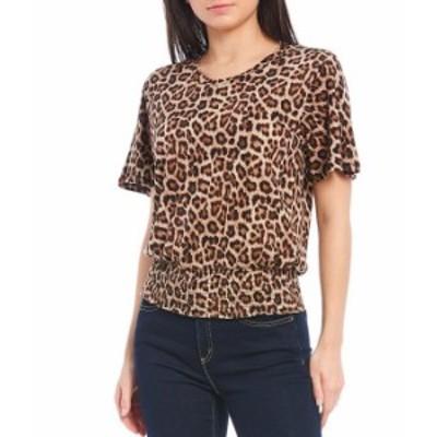 マイケルコース レディース Tシャツ トップス MICHAEL Michael Kors Nubian Cheetah Print Knit Jersey Cotton Blend Flutter Sleeve Smo