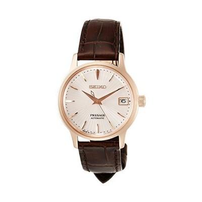 [セイコーウォッチ] 腕時計 プレザージュ 機械式 ペールピンク文字盤 シースルースクリューバック SRRY028 レディース ブラウン