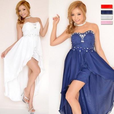 魅せるドレス フラワーレースビジューラウンドカットロングドレス