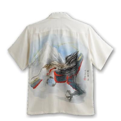 MAKANALEI ハンドペイント アロハシャツ 龍柄 RYU 手描き メンズ レディース ハワイアン 半袖アロハシャツ シルク100%