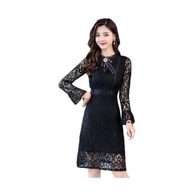 チーアン Tiann ワンピース レディース ドレス パーティードレス フォーマルドレス フレアドレス 結婚式ドレス カジュアル(ブラック L)